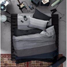 Lotus Impression รุ่น Stripies ชุดผ้าปูที่นอน ผ้านวม ขนาด 3 5 ฟุต ลาย Li Sd 12B โทนสีดำ เทาเข้ม เป็นต้นฉบับ