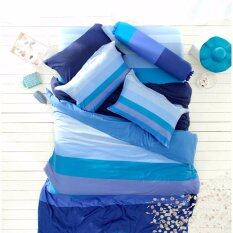 Lotus Impression รุ่น Stripies ชุดผ้าปูที่นอน ผ้านวม ขนาด 3 5 ฟุต ลาย Li Sd 15B โทนสีน้ำเงิน ฟ้า ใหม่ล่าสุด