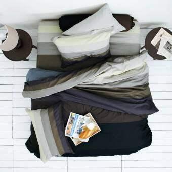 Lotus Impression รุ่น Stripies ชุดผ้าปูที่นอน + ผ้านวม ขนาด 6 ฟุต ลาย LI-SD-10B : โทนสีดำ-เทา