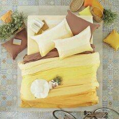 Lotus Stripies ชุดผ้าปูที่นอน 6 ฟุต 5 ชิ้น ลาย Li Sd 20B โทนสีเหลือง เป็นต้นฉบับ