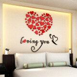 โปรโมชั่น Lovely Mirror Hearts Home 3D Acrylic Wall Stickers Decor Diy Decal 40Cm 40Cmremovable Set Red Intl ถูก