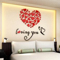 ขาย Lovely Mirror Hearts Home 3D Acrylic Wall Stickers Decor Diy Decal Removable Set Red Intl ถูก