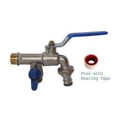 Luccano ก๊อกน้ำทองเหลือง 2 ทิศทาง พร้อมหัวก๊อกน้ำสำหรับต่อสายเครื่องซักผ้า.
