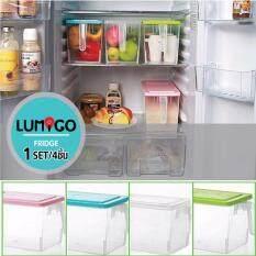 ราคา Lumigo กล่องเก็บของ กล่องพลาสติกอเนกประสงค์ กล่องเก็บของในตู้เย็น พร้อมมือจับ รุ่น Sb 001 H Set 4 ใหม่