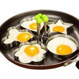 Luowan 1 Set 5Pcs Stainless Steel Fried Egg Mould Non Stick Egg Rings Cooking Egg Fried Pancake Omelets Mold Rings Kitchen Tool Pancake Rings Silver Intl ใหม่ล่าสุด
