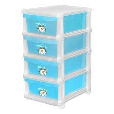 ขาย Lux ตู้ลิ้นชักพลาสติก 4 ชั้น ลาย Lazada Happy Lion สีฟ้า Limited Edition ใหม่