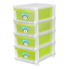 ซื้อ Lux ตู้ลิ้นชักพลาสติก 4 ชั้น ลาย Lazada Happy Lion สีเขียว Limited Edition Lux ถูก