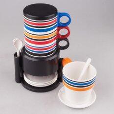 โปรโมชั่น Maison ชุดแก้วน้ำ Rainbow Set 12 ชิ้นชุด ลาย Stripe 2 ขอบดำ Maison ใหม่ล่าสุด