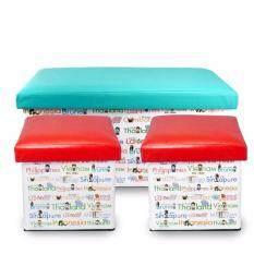 Maneki กล่องเก็บของ นั่งได้ พับได้ เก้าอี้พับ รุ่น Tsn001-St1 ( สีเขียว 1ใบ,สีแดง 2ใบ ).