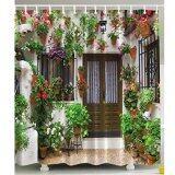ซื้อ บ้านสวนสเปนแมคม่านอาบน้ำผ้าโพลีเอสเตอร์เถาดอกไม้ดอกไม้สีเขียวกับ 12ชิ้นตะขอ ใหม่