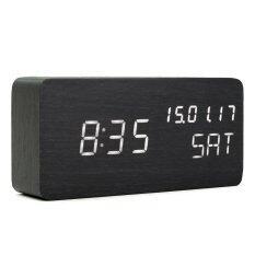 ขาย Modern Cube Wooden Wood Digital Led Desk Voice Control Alarm Clock Thermometer Led Color White Intl