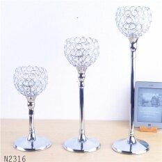ขาย Modern Luxury Metal Silver Plated Candle Holder With Crystals Wedding Candelabra Centerpiece Decoration Candlestick Intl ใน จีน