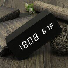 ซื้อ Modern Wooden Alarm Clock Digital White Led Thermometer Usb Aaa Sound Control ใน Thailand