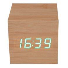 ซื้อ ไม้ฟืนแบบสมัยก่อนนาฬิกาปลุกบนโต๊ะสีเขียวเครื่องวัดอุณหภูมิ ออนไลน์ จีน