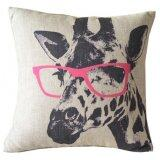 ทบทวน Moonar Glasses Wearing Giraffe Leaning Cotton Cushion Pillow Cover For Home Sofa Decoration 43 X 43Cm Moonar