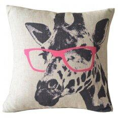 ซื้อ Moonar Glasses Wearing Giraffe Leaning Cotton Cushion Pillow Cover For Home Sofa Decoration 43 X 43Cm ถูก Thailand