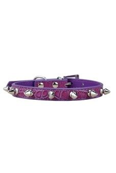 Moonar Pet Dog Cat PU Leather Rivet Studded Collar Buckle Neck Strap Purple