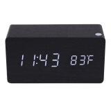 ซื้อ Morden Rectangle Wooden Digital Black Alarm Clock Calendar With White Light จีน