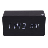 Morden Rectangle Wooden Digital Black Alarm Clock Calendar With White Light ใหม่ล่าสุด