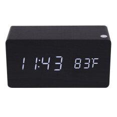 ส่วนลด Morden Rectangle Wooden Digital Black Alarm Clock Calendar With White Light Unbranded Generic