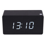 ส่วนลด สินค้า Morden White Led Wooden Digital Black Alarm Clock Calendar Thermometer