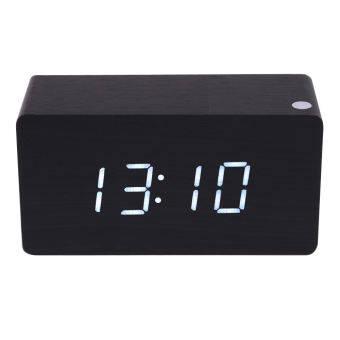 Morden สีขาว LED ไม้ดิจิตอลสีดำนาฬิกาปลุกปฏิทินเครื่องวัดอุณหภูมิ-