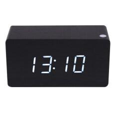 ส่วนลด Morden White Led Wooden Digital Black Alarm Clock Calendar Thermometer