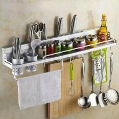 Multifunctional 60Cm Space Aluminum Kitchen Wall Mounted Storage Rack Have Fence Intl Intl ถูก