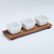 Mye ชุดถ้วย 3 ชิ้นพร้อมฐานไม้ (ไม้จามจุรีและถ้วยเมลามีน).