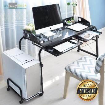 Mylazydesk โต๊ะคร่อมเตียง (รุ่นMLD120 สีดำ120cm) โต๊ะทำงานโมเดิร์น โต๊ะวางคอมพิวเตอร์ โต๊ะอ่านหนังสือ โต๊ะเขียนหนังสือ โต๊ะวางโน๊ตบุ๊ค โต๊ะอเนกประสงค์ โต๊ะสำนักงาน โต๊ะเล่นเกมส์ overbed table computer desk office desk laptop stand
