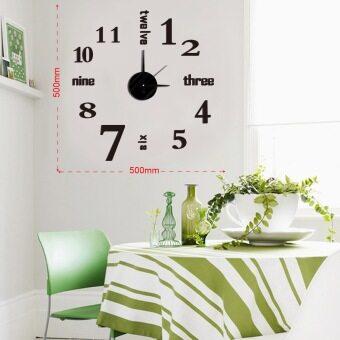 นาฬิกาสติกเกอร์ติดผนัง DIY WALL CLOCK ตัวอักษรบอกเลข+เส้นขีดแทนตัวเลข