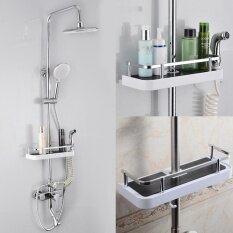 New Bathroom Pole Shelf Shower Storage Rack Organiser Hollow Design Tray Holder - Intl.