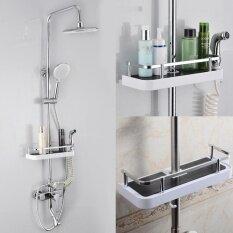 New Bathroom Pole Shelf Shower Storage Rack Organiser Hollow Design Tray Holder - Intl.