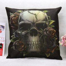 ซื้อ New Fashion Creative Skull Linen Cotton Throw Pillow Case Home Decor Cushion Cover Pillowcase 4 Style Intl ใหม่