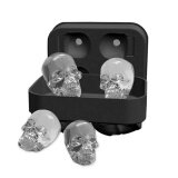 ซื้อ Niceeshop 3D Skull Flexible Silicone Ice Cube Mold Tray Makes Four Giant Skulls Round Ice Cube Maker Black Intl ถูก