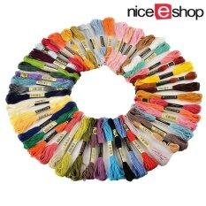 ราคา Niceeshop 8แผ่นผ้าถักด้าย 50 เข็ดด้ายเย็บด้ายสีต่าง ๆ ราคาถูกที่สุด