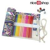 ราคา Niceeshop ถุงผ้าแคนวาสทำมือลายโบฮีเมียนสำหรับใส่ดินสอสีจำนวน 36 แท่ง เป็นต้นฉบับ