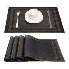 Niceeshop Placemats Heat Resistant Placemats Stain Resistant Anti Skid Washable Pvc Table Mats Woven Vinyl Placemats Set Of 4 Black Gold Intl เป็นต้นฉบับ