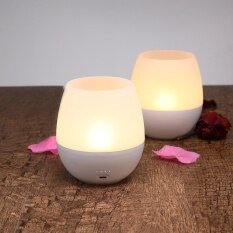 Niceeshop Rechargeable Flameless Led Candle Lamp, Blowing On/off Control Dimmable Tea Light Beside Night Light For Dinner Camping Decoration - Intl.