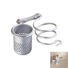 ขาย ซื้อ ออนไลน์ Niceeshop Spiral Hair Blow Dryer Holder Practical Wall Mount Hang Shelf Bathroom Accessories Set Convenient Households Rack With Multi Function Storage Shelf Single Cup Intl