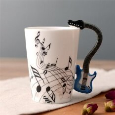 ความแปลกใหม่กีตาร์ถ้วยเซรามิกเพลงหมายเหตุนมน้ำมะนาวแก้วกาแฟชาถ้วย Home Office Drinkware - Intl.