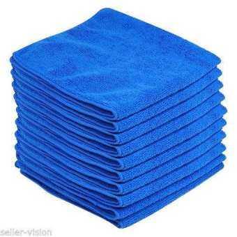 Number 8 ผ้าไมโครไฟเบอร์ สำหรับทำความสะอาด แพ็ค6ชิ้น-สีน้ำเงิน-