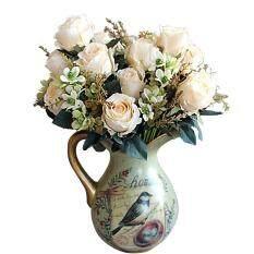 ซื้อ วังของ Oem Earl ดอกกุหลาบช่อดอกไม้ประดิษฐ์ สีขาวครีม Unbranded Generic ออนไลน์