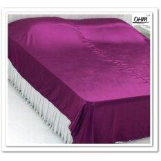 ขาย Ohm ผ้าคลุมเตียง ผ้าซาตินแท้ 440 เส้น เกรดพรีเมี่ยม สีม่วงเปลือกมังคุด กรุงเทพมหานคร ถูก