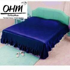ส่วนลด Ohm ผ้าคลุมเตียงชายระบาย ผ้าซาตินแท้ 440 เส้น เกรดพรีเมี่ยม ขนาด 96 นิ้ว X 108 นิ้ว Ohm