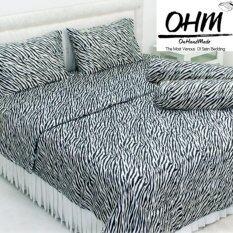 โปรโมชั่น Ohm ผ้าปูที่นอน ผ้าซาตินแท้ 330 เส้น ขนาด 3 5 ฟุต 3 ชิ้น ลายทางม้าลายขาว ดำ ใน กรุงเทพมหานคร