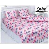 ส่วนลด Ohm ผ้าปูที่นอน ผ้าซาตินแท้ 330 เส้น ขนาด 6 ฟุต 5 ชิ้น ลายพิงค์แอนด์บลูฟลาวเวอร์ Ohm