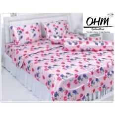 ขาย Ohm ผ้าปูที่นอน ผ้าซาตินแท้ 330 เส้น ขนาด 6 ฟุต 5 ชิ้น ลายพิงค์แอนด์บลูฟลาวเวอร์
