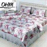ราคา Ohm ผ้าปูที่นอน ผ้าซาตินแท้ 330 เส้น ขนาด 6 ฟุต 3 ชิ้น พื้นขาว ลายดอกซากุระ Ohm ใหม่