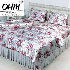 ขาย Ohm ผ้าปูที่นอน ผ้าซาตินแท้ 330 เส้น ขนาด 6 ฟุต 3 ชิ้น พื้นขาว ลายดอกซากุระ ผู้ค้าส่ง